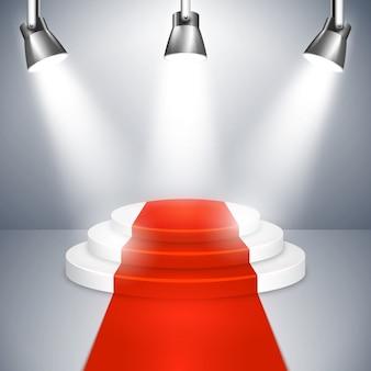 Подиум на трех возвышающихся круговых ступенях с красной ковровой дорожкой, освещенной тремя прожекторами, для публичного выступления или награждения важного события, векторная иллюстрация