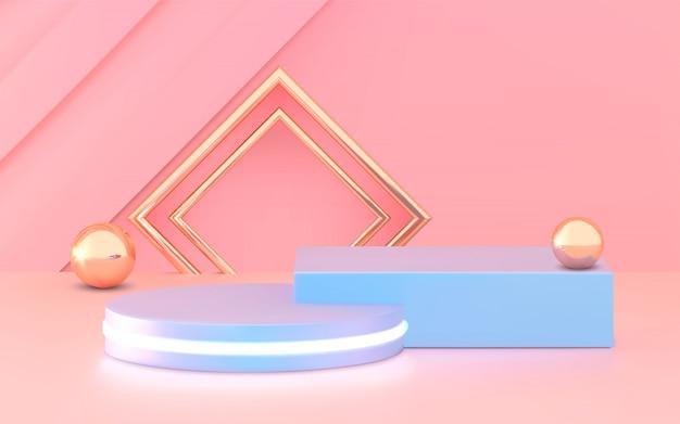 연단, 받침대 또는 플랫폼, 제품 프리젠 테이션 화장품 배경. 3d 일러스트 레이 션. 밝은 연단. 광고 장소. 파스텔 핑크 블루 색상의 빈 제품 스탠드 배경.