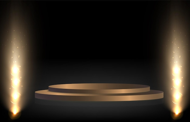 A podium plinth or platform illuminated by spotlights in the background with falling gold candy ve