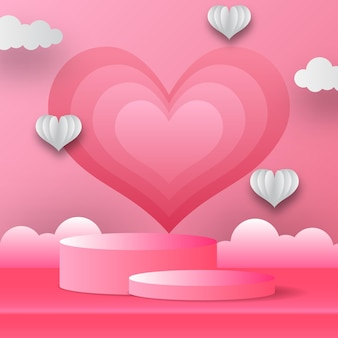 연단 제품 디스플레이 심장 모양 및 구름 발렌타인 데이 인사말 카드 배너. 종이 컷 핑크 배경 스타일 벡터 일러스트 레이 션.