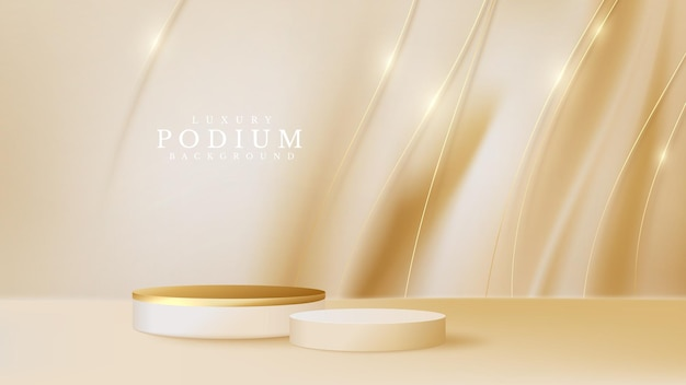 Podium product display with golden curve line on luxury canvas background.