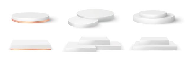 表彰台のリアルな3dレンダリングコレクション。円形と正方形の空のステージと台座のベクトルテンプレート。賞、ノミネート、化粧品のモックアップのための階段、スタンドステージ、シリンダーと正方形のイラスト