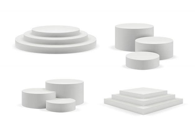 Podium realistic. round and square empty stages and podium stairs 3d template