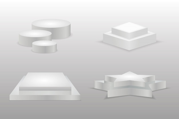 Podium realistic. round and square empty stages and podium stairs. empty 3d mockup style design of minimalist contest champion pedestal