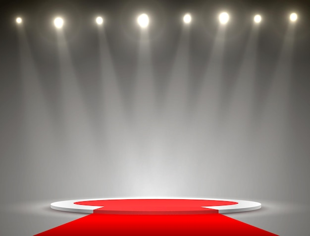 Podium red carpet in the background with spotlights. vector illustration