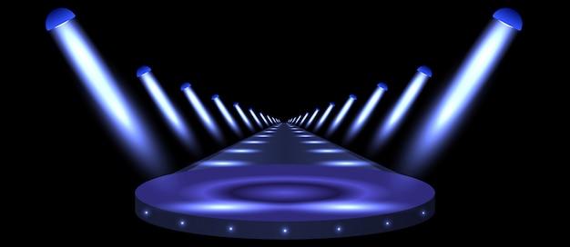 Podium, road, pedestal or platform illuminated by spotlights on black background.