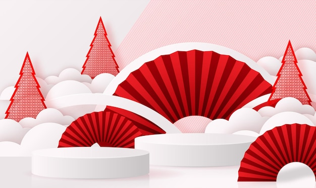 Podium round stage podium and paper art chinese new yearchinese festivals mid autumn festival