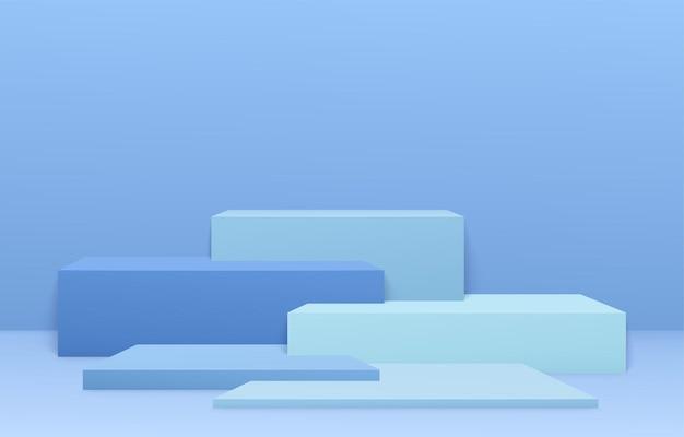製品の表彰台シーン。幾何学的な形とステップで青の最小限の抽象的な展示会の背景。