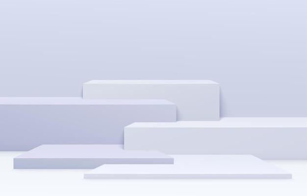 製品の表彰台シーン。ステップのある幾何学的形状の最小限の抽象的な展示背景。