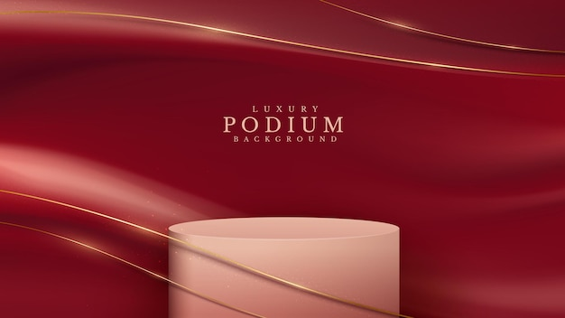 Podium showing products and golden curve lines on red fabric. 3d luxury background concept. vector illustration for promoting sales and marketing.