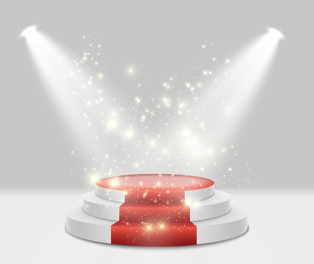Подиум. сцена для церемонии награждения. пьедестал. прожектор.