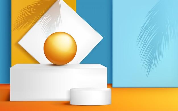 Подиум, сцена для презентации продукта с мячом