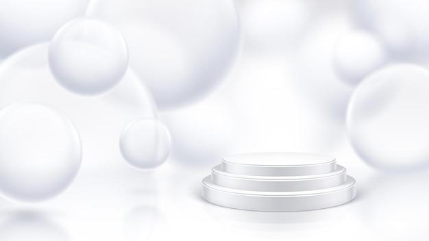 3d 비누 거품 디자인으로 연단 무대