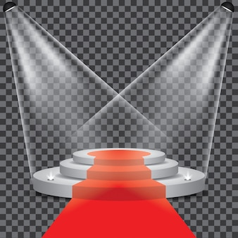 Podium stage with spotlight vector transparent