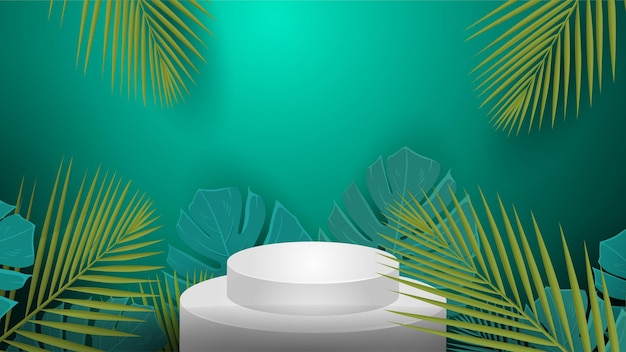 Podium stand isolated on tropical background