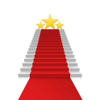 Podium star with red carpet, red stairs background