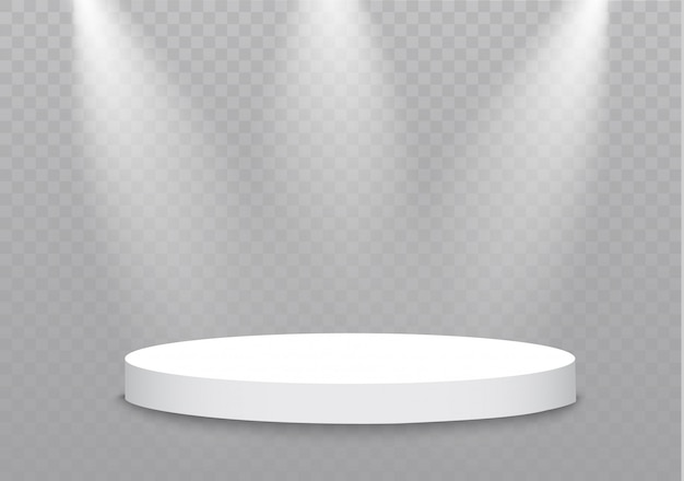 Podium on a transparent background.the podium of winners with bright lights.spotlight.lighting. illustration.attention.
