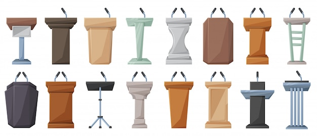 Podium of tribune cartoon vector illustration on white background