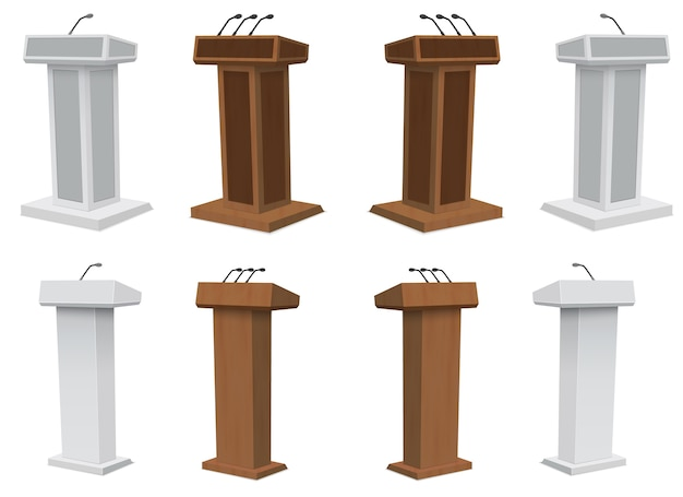 Podium tribune rostrum stand with microphones isolated.