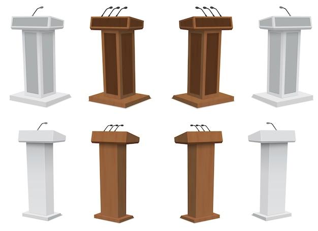 Стенд трибуны трибуны подиума с изолированными микрофонами.