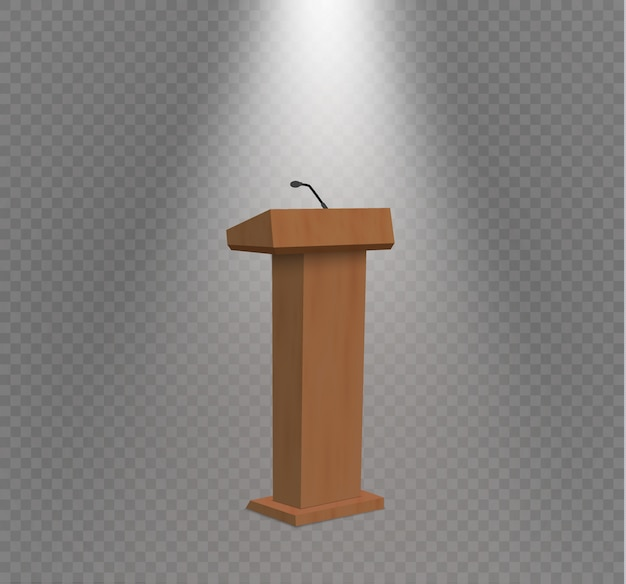 Podium tribune rostrum stand with microphones