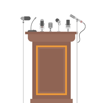 Podium tribune for speakers with microphones
