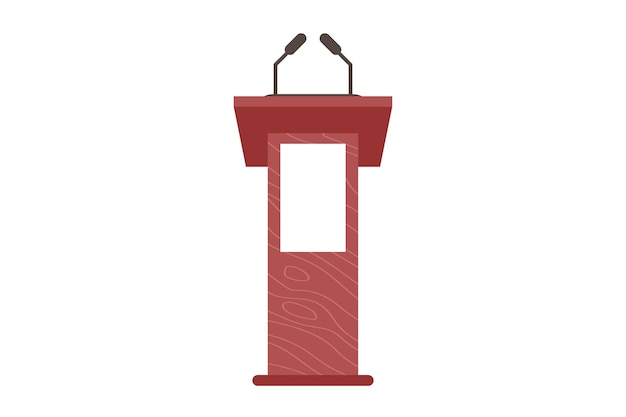 Podium and tribune. stage stand or debate or announcement podium rostrum with microphone. business presentation or conference speech tribune. flat vector illustration isolated on white background.