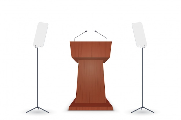 Podium tribune with microphone
