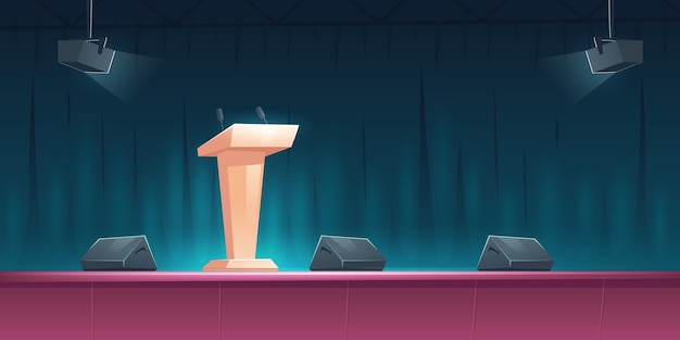 Podium, tribune with microphones on stage for speaker on conference, lecture or debate. cartoon illustration of empty scene for presentation and public event with pulpit and spotlights