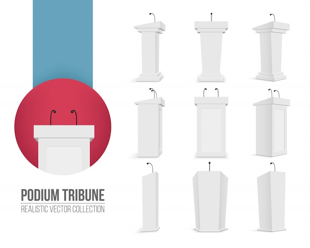 Podium tribune with microphones