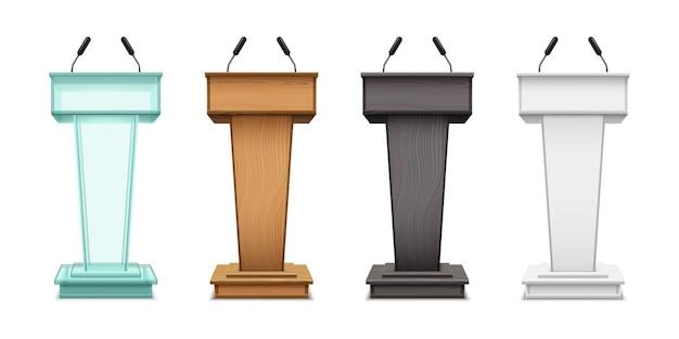 Podium tribunes vector realistic isolate set on white background speaker tribunes ceremony