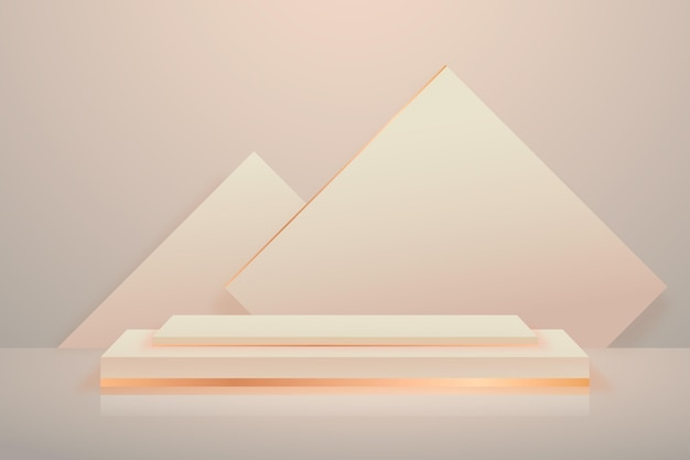 Podium wallpaper with geometrical 3d shapes
