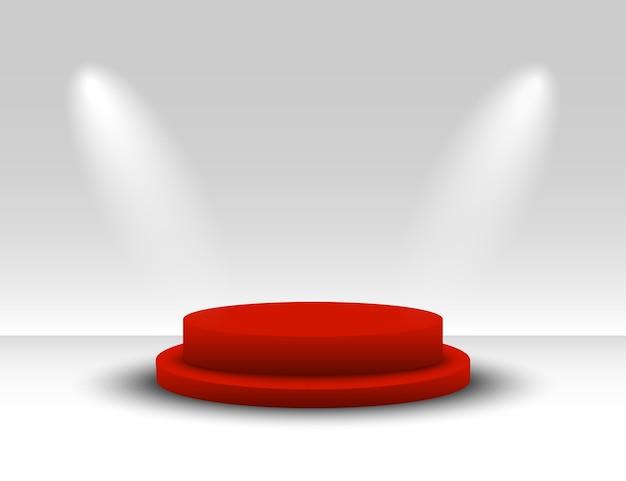지휘대. 우승자 연단. 스포트 라이트가있는 빨간색 받침대. 승자를위한 플랫폼. 받침대.