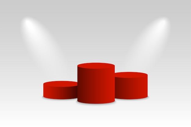 지휘대. 우승자 연단. 스포트 라이트가있는 빨간색 받침대. 승자를위한 플랫폼.