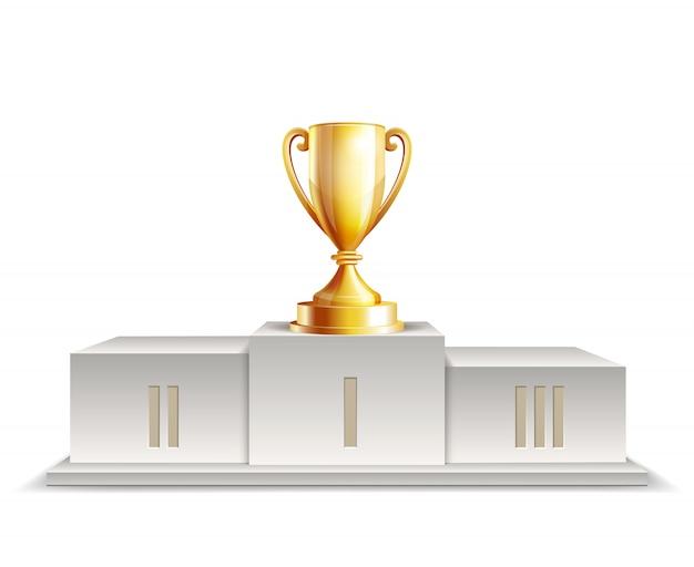 Победители подиума с золотой чашкой трофея на белом фоне.