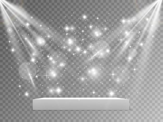 Подиум с красной ковровой дорожкой. сцена для церемонии награждения. пьедестал. прожектор. иллюстрация. подиум в свете звезд.