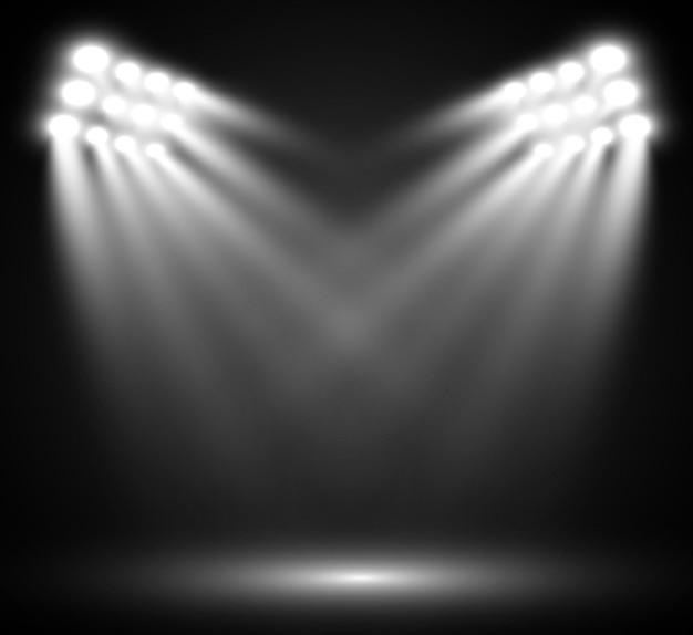 어두운 배경, 1 위, 명성 및 인기에 대한 스포트라이트가있는 연단.
