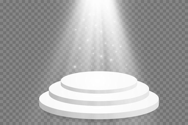 A podium with bright lights. stage of the award ceremony. vector illustration