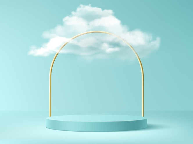 Podium with clouds and gold arch, abstract background with empty cylindrical stage for award ceremony