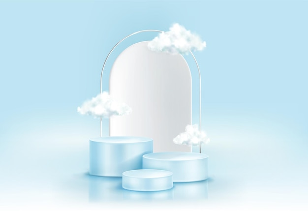 Podium with clouds