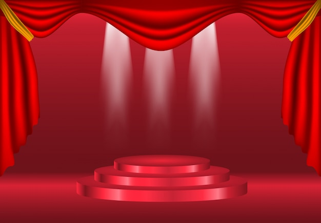 Podium with curtain on bright background decoration