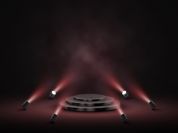 Podium with lighting. stage, podium, scene for award ceremony with spotlights. vector illustration.