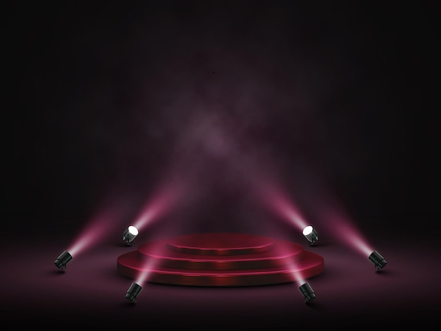 Podium with lighting. stage, podium, scene for award ceremony with spotlights.