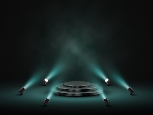 Podium with lighting. stage, podium, scene for award ceremony with spotlights.