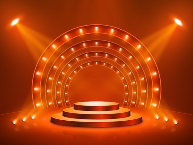 照明付き演壇。ステージ、表彰台、授賞式のシーン。図。