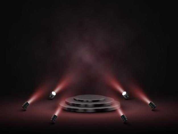 照明付きの表彰台。ステージ、表彰台、スポットライト付きの授賞式のシーン。ベクトルイラスト。 Premiumベクター