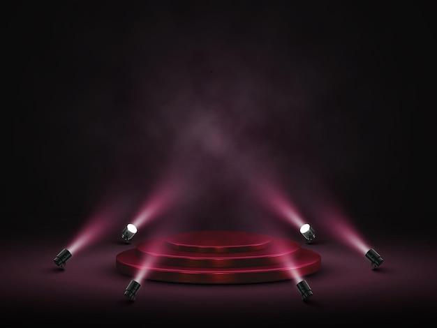 照明付きの表彰台。ステージ、表彰台、スポットライト付きの授賞式のシーン。
