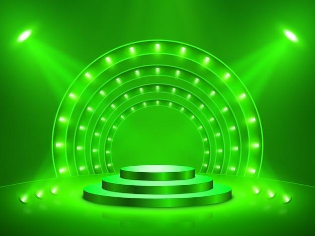 照明付き演壇。ステージ、表彰台、授賞式のシーン。