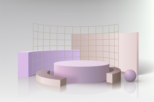 Podium with metal grids in 3d effect
