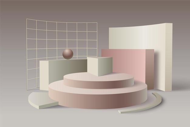 Подиум с металлическими сетками в 3d эффекте